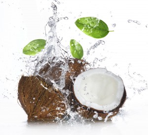 Coconut with splashing water
